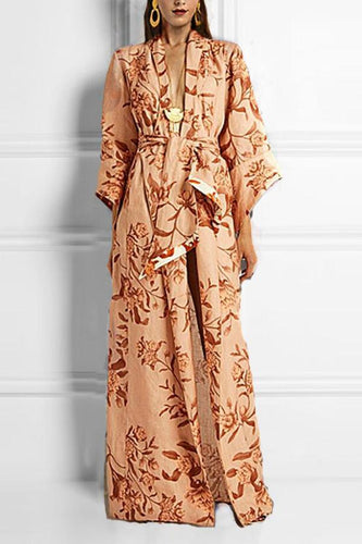 Fashion Deep V Collar Three-Quarter Sleeves Floral Printed Maxi Dress With Waistband