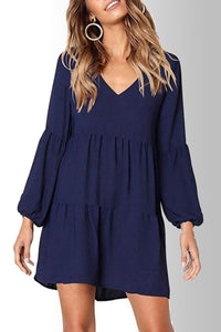 Fashion V Neck Puff Sleeve Solid Color Casual Dress