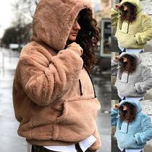 Load image into Gallery viewer, Hooded  Kangaroo Pocket  Plain Outerwear