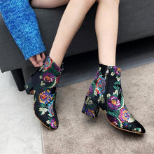 Load image into Gallery viewer, Fashion Ethnic Style Embroidery High Heel Ankle Boots With Women's Boots