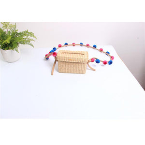 Colored Ball Decorative Weave Crossbody Bag