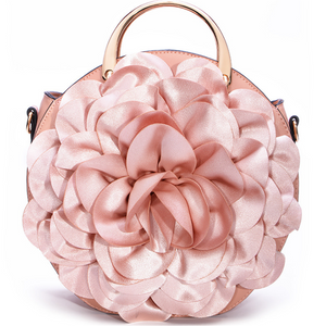Large flower round lace crossbody bag