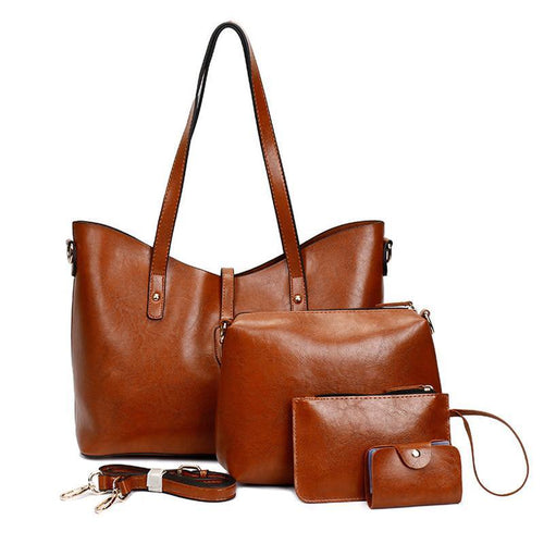 4 Piece Set Autumn And Winter New Fashion Retro Mother Bag Wild Big Bag Handbag Shoulder Messenger Bag