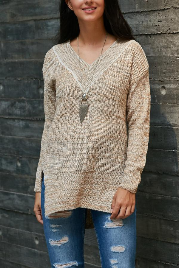 V-Neck Long-Sleeve Knit