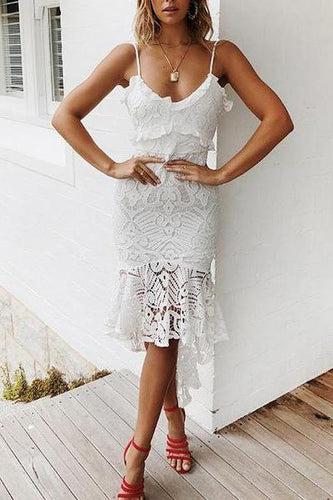 Fashion Sexy Sling Stitching   Ruffled Dress White & Light Pink ( Video )