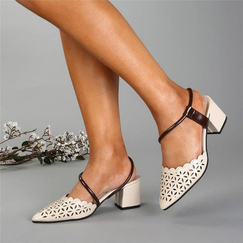 Fashion Pointed Formal Hollow Coarse Heel Sandal