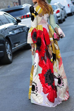 Load image into Gallery viewer, Gorgeous Ethnic Style Round Collar Long Flare Sleeves Floral Printed Maxi Dress