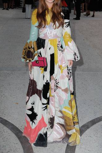 Gorgeous Ethnic Style Round Collar Long Flare Sleeves Floral Printed Maxi Dress
