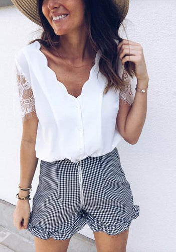 Fashion Sexy Lace Short Sleeve Buckle Blouse