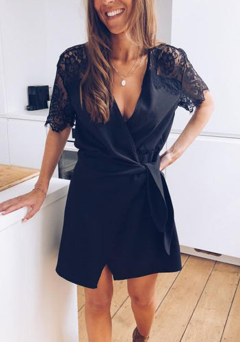 Sexy Solid Color Lace Sleeve V-Neck Dress