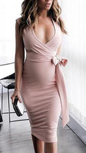 Load image into Gallery viewer, Maternity V-Neck Side Bow Bodycon Dress