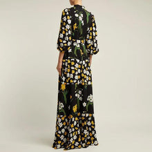 Load image into Gallery viewer, Flash Sale Splicing Printing Lantern Sleeve Maxi Dress