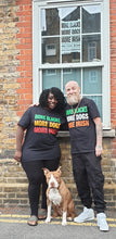 Load image into Gallery viewer, More Blacks More Dogs More Irish Tee in Rasta Colours GREEN, YELLOW AND RED