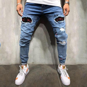 Men's Broken Embroidered   Trousers Jeans