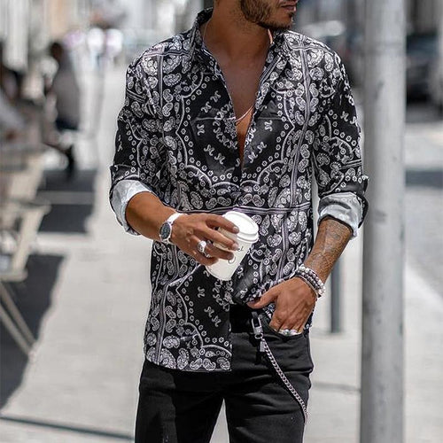 Fashion Printed Stand Collar Long Sleeve Shirts