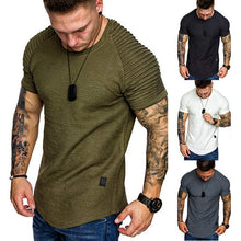 Load image into Gallery viewer, Shoulder Pleated Design Round Neck Short-Sleeved T-Shirt