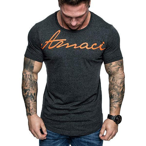 Men's Fashion Minimalist Print Short Sleeve T-Shirt