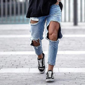 Men's Fashion Casual Big Broken Hole Jeans