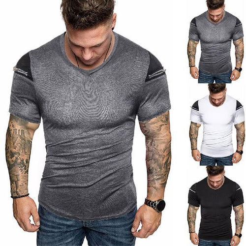 Men's Fashion Solid Color Zipper Shoulder T-Shirt