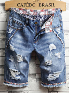 Men's Fashion Broken Hole Washed Five Points Jeans