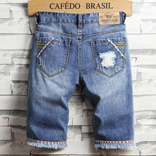 Load image into Gallery viewer, Men's Fashion Broken Hole Washed Five Points Jeans