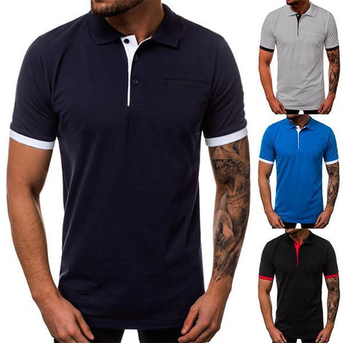 Gentleman Fashion Solid Color Lapel T-Shirt