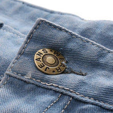 Load image into Gallery viewer, Fashion Broken Hole Embroidery Straight Five Points Jeans