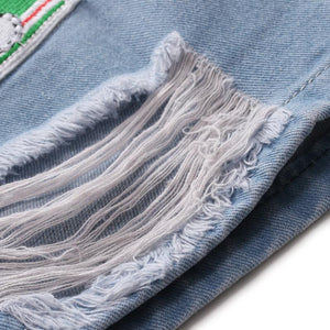 Fashion Broken Hole Embroidery Straight Five Points Jeans