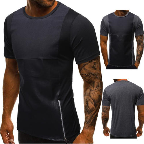 Summer Men's Casual Fashion Slim Side Zipper Short-Sleeved T-Shirt