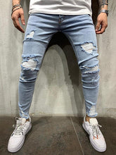 Load image into Gallery viewer, Broken Hole Washed Light Blue Ripped Jeans
