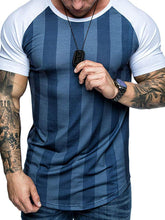 Load image into Gallery viewer, Fashion Stripe Raglan Sleeve Round Neck T-Shirt
