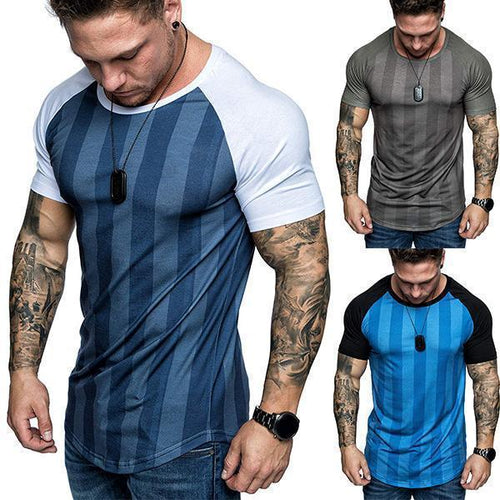 Men's Fashion Colorblock Striped Raglan Sleeves T-Shirt