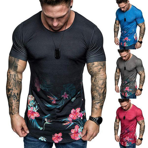 Men's Fashion Solid Color Floral Print Short-Sleeved T-Shirt