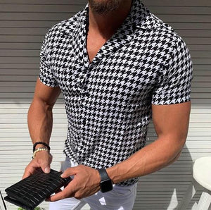 Casual Houndstooth Printed Short Sleeve Shirt