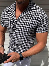 Load image into Gallery viewer, Casual Houndstooth Printed Short Sleeve Shirt