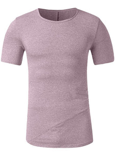 Casual Pure Colour Round Neck T-Shirt