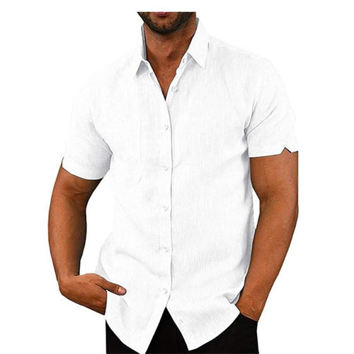 Fashion Stand Collar Single-Breasted Short-Sleeved Slim Shirts