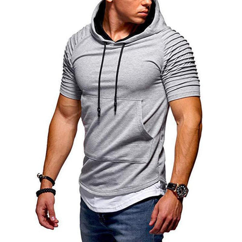 Casual Sportive Pleated Hooded T-Shirt