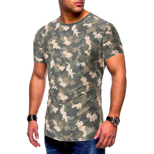 Camouflage Hole Casual Short-Sleeved T-Shirt