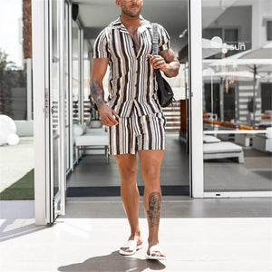 Men's Vertical Stripes Slim Short Sleeve Shirt Elastic Waist Shorts Suit