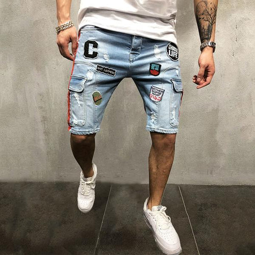 Street Embroidery Broken Hole Denim Shorts