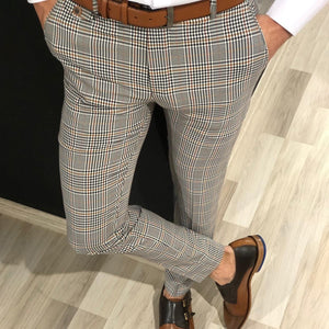 New Men's Casual Plaid Solid Color Cropped Pants