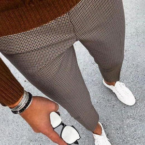 New Men's Plaid Casual Cropped Pants