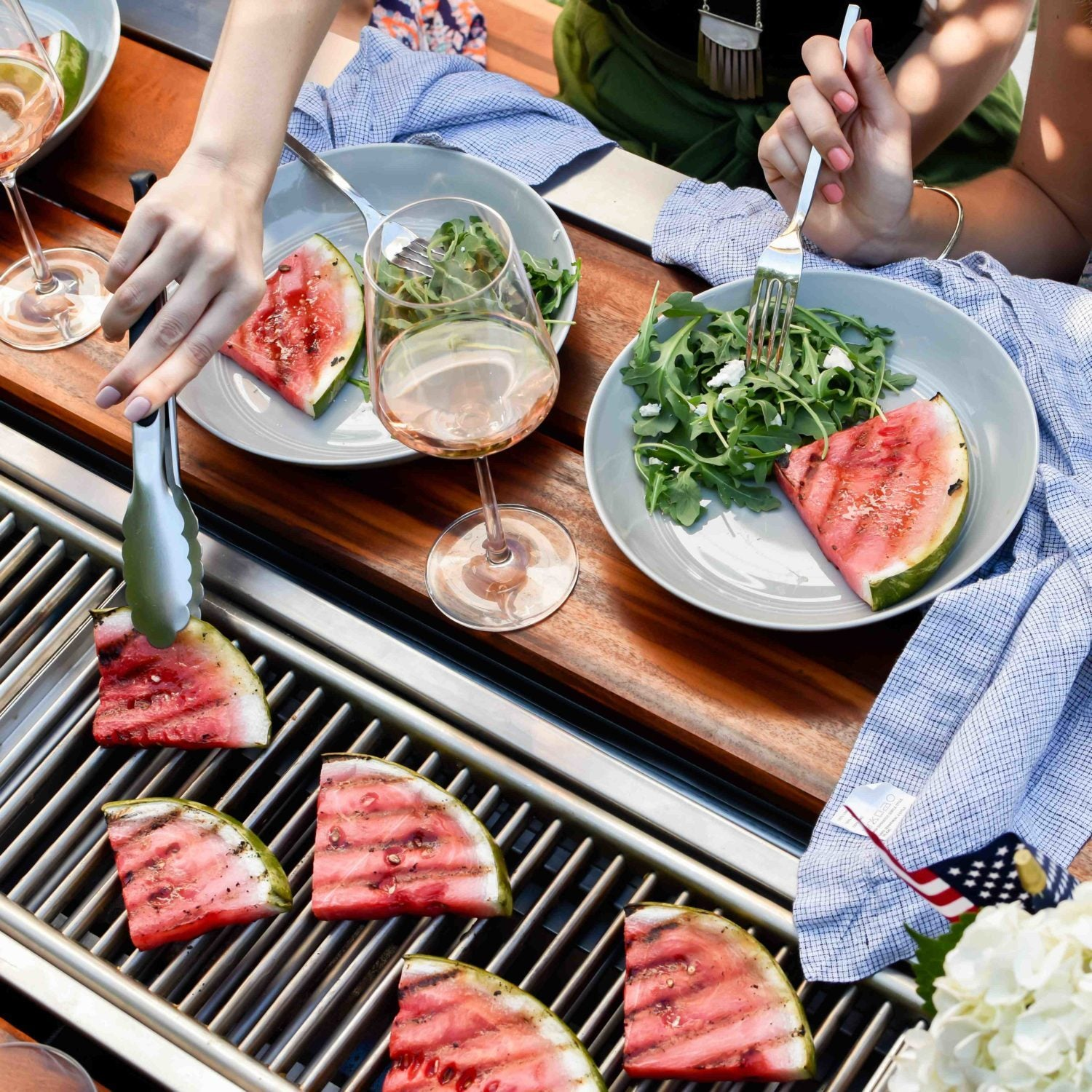 grilled watermelon on an Angara grill table