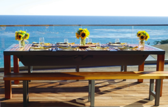 Angara Maximus grill table on a beachside patio in California