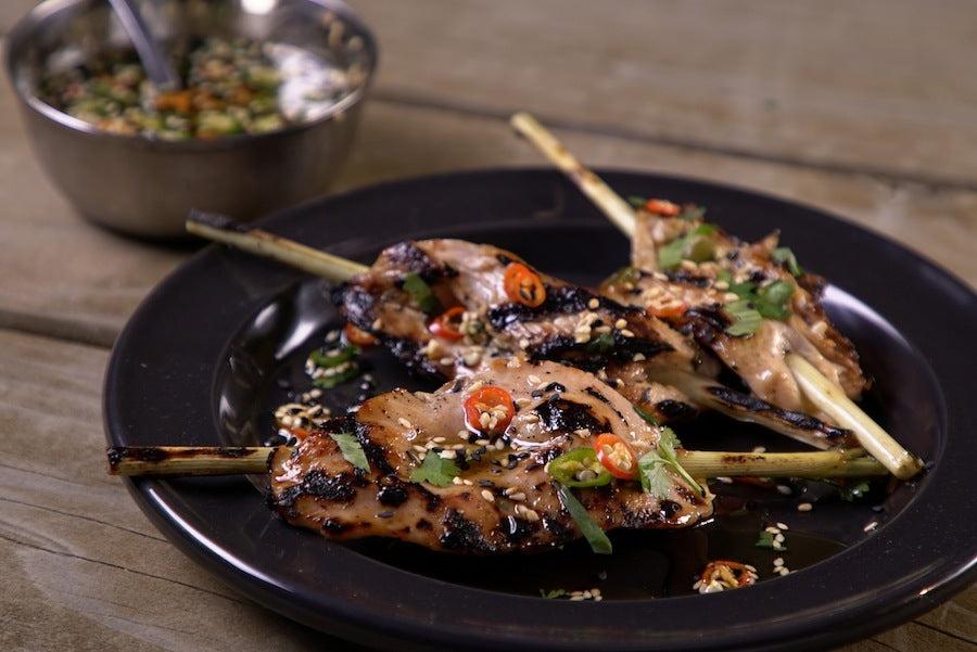 Plate of Lemongrass Chicken Skewers