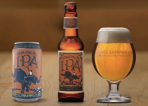 IPA in can, bottle, glass