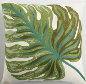 artistic palm frond pillow