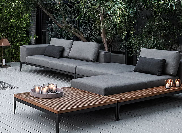 Gray outdoor couch and connected table