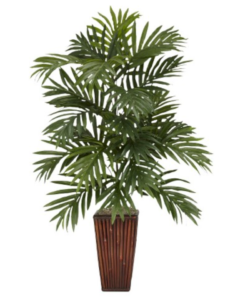 silk palm plant with bamboo vase